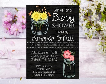 Bridal Shower Mason Jar black background Baby Shower invitation invite elegant rustic country farm flowers pink yellow Bride mom