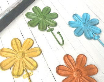 Iron Flower Hooks, Home Decor, Towel Hook, Key Hook, Kids Room Decor, Customize