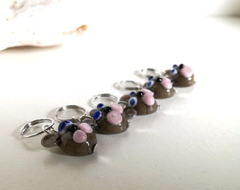 Mouse stitch markers for knitting and crochet in Murano Glass hand-molded.