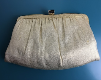 1950s Vintage Gold Convertible Clutch with Metal Clasp Closure