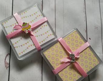 Coasters, afternoon tea, summer, set of four coasters, kitchen accessories, dining accessories, drink accessories