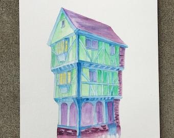 Original Tudor House Building cool colors watercolor painting 9x12 12x9
