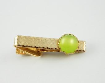 Lime Moonstone Tie Clip