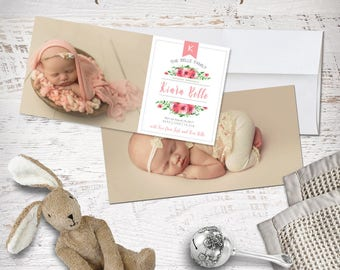 Birth Baby Announcement Photo Card 4x8 Printable or Professional Printing