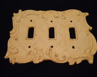 Three Switch Cover Cover Plate Cast Metal. Shabby Chic Vintage