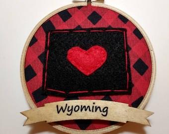 "4"" Custom State Embroidery Hoop Ornament Black felt on Red Buffalo Plaid Fabric"
