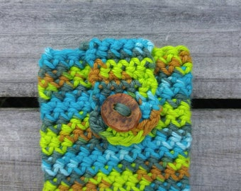 Crocheted Cell Phone Case - Phone Sleeve -Phone coozie- Green Blue Brown -Phone cover - iPhone case- Phone cozy- Android cover -Cotton Yarn