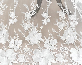 """Ivory Floral Lace Fabric Embroidered Tulle bridal Dress wedding dress Fabric 49""""  S0757"""