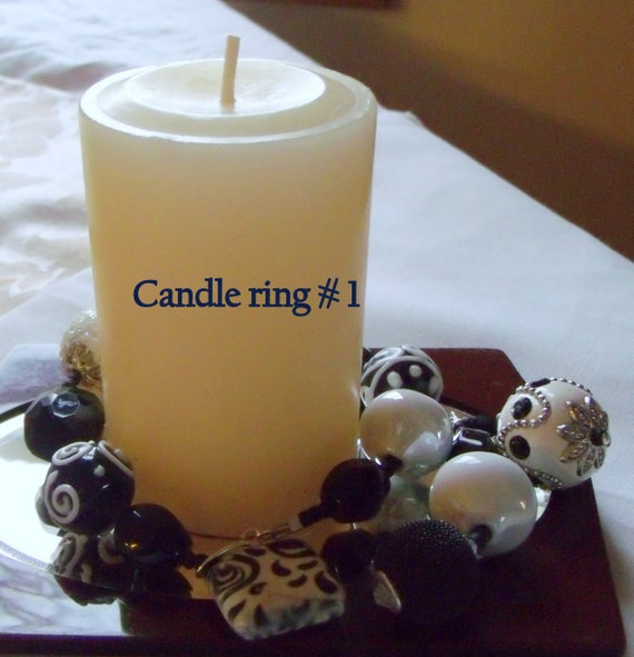 Black affair candle ring - wine bottle decor - housewarming gift -  boho bead  table decorations - Hostess gift - 13 inch long -  wedding