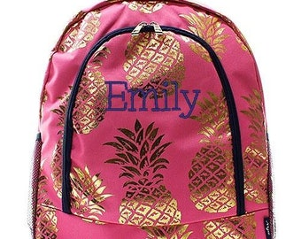Monogrammed Backpack Personalized Gold Pineapple Coral Backpack Personalized Backpack Kids Backpack Girls Backpack Boys Backpack