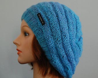 Natural RIAF Soft Warm Hand Crafted Alpaca Slouchy Beanie Hat, Turquoise & Purple