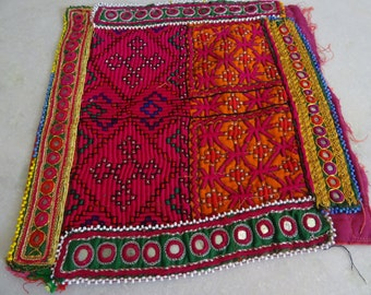Indian Vintage Neck Yoke Embroidery OF Beads Work And Mirror work Handmade Applique Patch Sewing craft, cotton fabric neck yoke 11