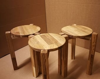 STOOL OAK Solid wood TRIO-1