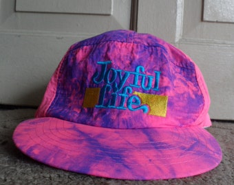 Vintage Made in Taiwan R.O.C Lightweight Embroidered 6 Panel Cap (Joyful Life)
