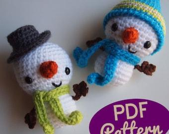 Amigurumi Crochet Smiley Snowman Stocking Stuffer or Christmas Ornament PDF Pattern