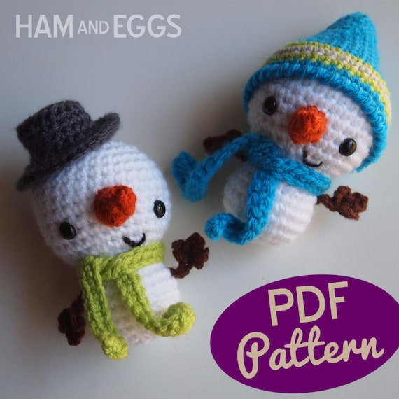 Ganchillo amigurumi muñeco de nieve de Smiley siembra patrón