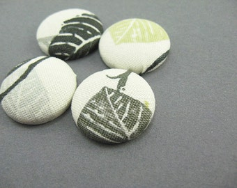 4 Fabric Covered Button Magnets, Nature Leaf Green Gray, Fridge Magnets, Kitchen Decor, Wedding Favors