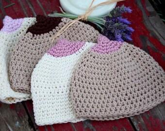 Crochet Infant Booby/Boobie Beanie--Sizes 0-12 Months