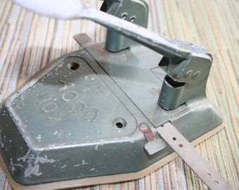 Vintage ACCO 2 Hole Punch ,Heavy Duty Steel Office Supply , Industrial , 1950's , Retro Office Decor