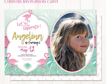 "Flamingo invitation Printable, Custom 5"" x 7"" invitation card for flamingo birthday party, personalized tropical invitation with photo"
