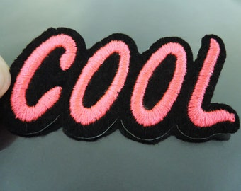 COOL Letter Patches - Iron on Patch or Sewing on Patch Letter Patches Neon Pink Patch Summer Cool Embellishments Embroidery fonts