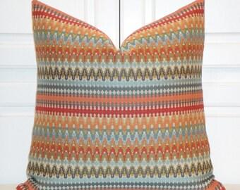 Decorative Pillow Cover - IKAT Zig Zag - Aqua - Orange - Rust - Tan - Blue
