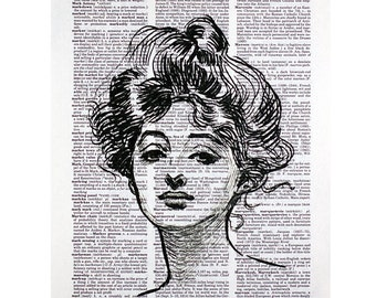 Gibson Girl II Print on a Vintage Dictionary Page