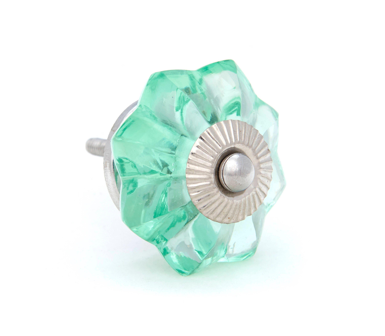 Mint Green Glass Kitchen Cabinet Pulls, Dresser Knobs with Chrome ...