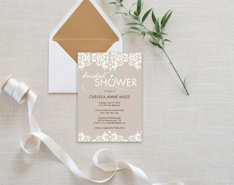 Bridal Shower Invitation Template | Editable Invitation Printable | Wedding Shower Lace Invite | No. PW 2035