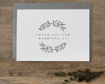 Thank you for Marrying Us - Wedding Card to Officiant, Wedding Day Card, Wedding Cards, Minister, Judge, Pastor, Priest, Thank You Cards, K9