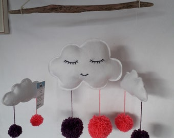 Pink and purple PomPoms cloud mobile