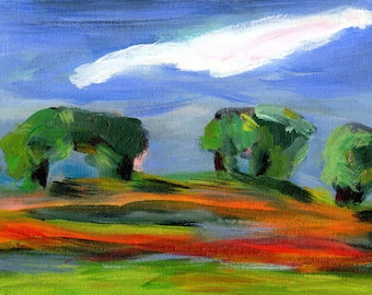 Woven Landscape IV //  original  /   painting  /  one of a kind painting on a canvas panel  / cloudy sky  one long cloud