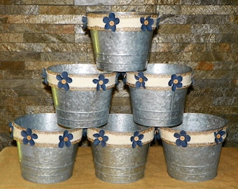 "Metal Buckets 6"" High by 7"" Wide Grey Galvanized Pails with Denim Flowers, Burlap, SET of 6 Add Potted Flowers, Great Centerpieces, Weddings"