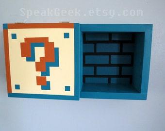 Super Mario Bros Shelf - Shadow Box Shelf - Underground Theme - 2 Block Cubby Shelf - Hand Made - Hand Painted - MADE TO ORDER