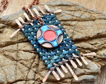 Boho necklace Boho pendant Boho jewelry Ethnic necklace Ethnic pendant Ethnic jewelry Polymer clay jewelry for women Unusual necklace