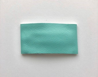Blue faux leather snapclip/ faux leather snapclip/ blue snapclip