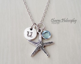 Starfish Necklace - Ocean Necklace - Antique Silver Jewelry - Monogram Personalized Initial and Birthstone