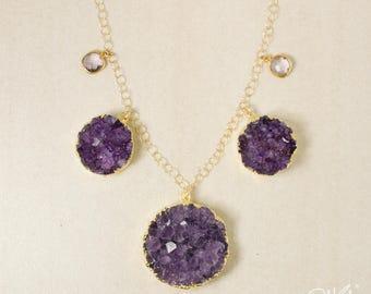 50% OFF SALE - Purple Amethyst Geode Bib Necklace - February Amethyst - Pink Amethyst, 14KT GF