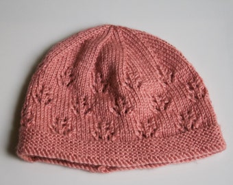 Knit Pink Baby Hat Cap Toque Newborn Toddler