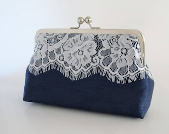 Silk And Eyelash Lace Clutch,Navy Eyelash Lace Clutch,Bridal Accessories,Wedding Clutch, Bridesmaid Clutch