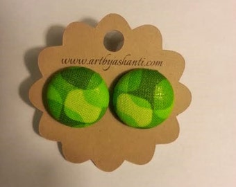 Shades of green button earrings