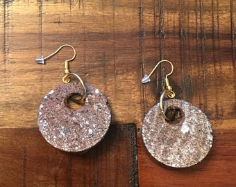 "Handmade Wooden spray painted 1 1/8"" hanging earrings"