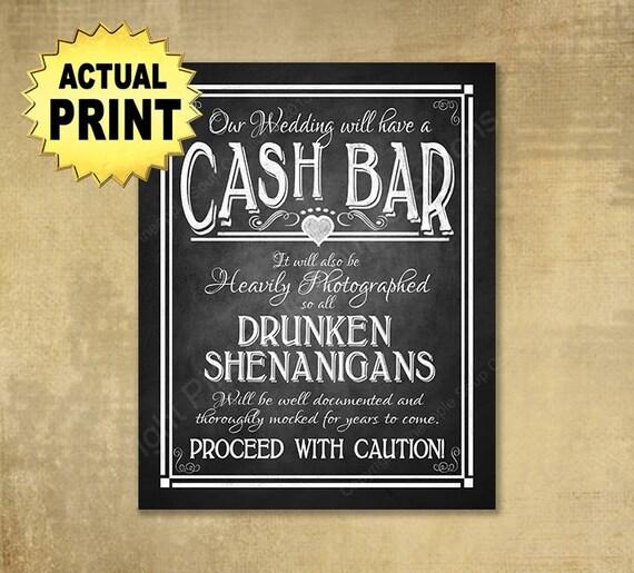 Printed Wedding Signs, Cash Bar wedding sign, Drunken shenanigans, chalkboard sign, wedding print, cash bar sign, chalkboard wedding poster