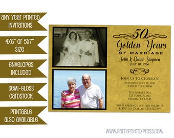 50th Anniversary Invitation - Golden Anniversary Invitations - 50th Wedding Anniversary Invitations - Gold Anniversary - Then and Now Photos