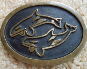 Whale, Orcha, or Dolphin Buckle, Bronze Belt Buckle Dolphins, Bronze Buckle, Buckle by Rainbow Metals