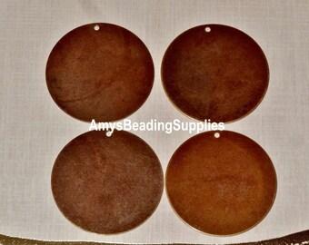 4 Vintaj Natural Brass 34mm Altered Blank - Circle (P295)