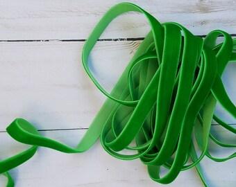 3/8 Classical Green Velvet NON ELASTIC Ribbon