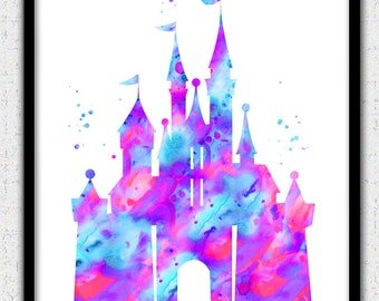 Castle printable art, pink purple aqua castle Instant Download, Disney castle instant download, princess castle print, castle silhouette