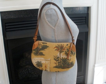 Tommy Bahama Tapestry And Leather Vintage Handbag
