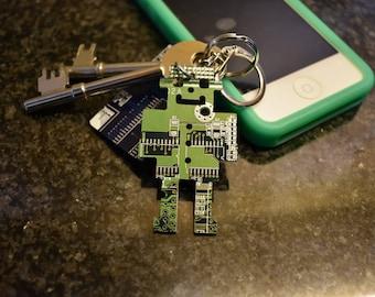 Green Robot Circuit Board Keychain / Key fob - Geek Presents - Computer Nerd Gifts - Tech Accessories - Software Engineer - Robotics